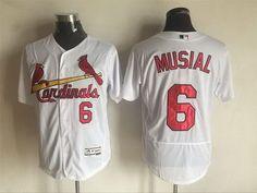 Men's St. Louis Cardinals #6 Stan Musial Retired White 2016 Flexbase Majestic Baseball Jersey