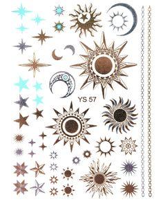 Gold Tattoo Flash Tattoos Star Sun Moon Ornaments over 40 parts (!) ys-57   Beauty & Gesundheit, Tattoos & Körperkunst, Einmal-Tattoos   eBay!