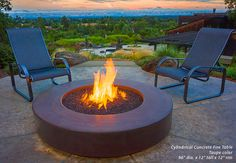 Great placement for this concrete fire table and concrete patio.  Takes full advantage of the breathtaking view.   Ernsdorf Design Los Angeles CA