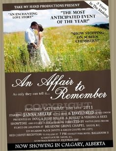 'An Affair to Remember' movie poster wedding invitation