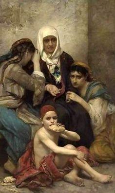 FRANÇOIS LAFON (NÉ À PARIS EN 1846)    SCÈNE ORIENTALE, UNE FAMILLE PAUVRE; ORIENTAL SCENE, THE BEGGARS; OIL ON CANVAS SIGNED AND DATED 1878