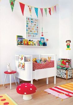 Tiny Little Pads - Interiors for Kids: Scandinavian Retro Kids Room Inspiration. Baby Decor, Kids Decor, Bright Nursery, Colorful Playroom, Nursery Inspiration, Nursery Ideas, Kids Bedroom, Kids Rooms, Modern Interior