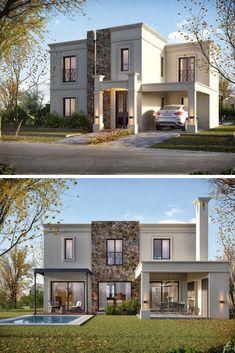 📌 53 Architect Ideas For Creative Home Designs « Modern Exterior House Designs, Dream House Exterior, Modern Architecture House, Modern House Design, Architecture Design, Bungalow House Design, House Front Design, Modern Mansion, Facade House