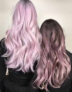 (Left) Light Pink Pastel Hair & (Right) Brown to Light Pink Ombre Hair♡ #Hairstyle #Dyed_Hair #Beauty