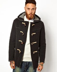 $457, Charcoal Duffle Coat: Gloverall Knitted Duffle Coat Grey. Sold by Asos. Click for more info: https://lookastic.com/men/shop_items/18233/redirect