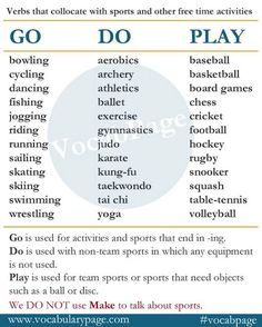 Verbs that collocate with sports and free time activities www. English Verbs, English Fun, Learn English Words, English Writing, English Study, English Lessons, English Grammar, Grammar And Vocabulary, Grammar Lessons
