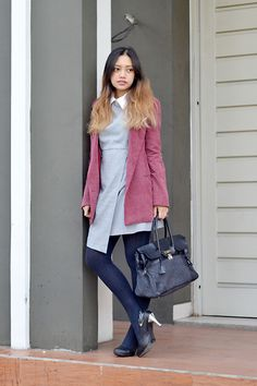 Get this look: http://lb.nu/look/7973710  More looks by Isti Sugiharti: http://lb.nu/istiulous17  Items in this look:  Yurie Nitani Handbag, Elite Burgundy Vintage Blazer, Maison De Toiles Dress, Vicary Heels   #winter #winteroutfit