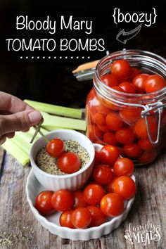 Boozy Bloody Mary Tomato Bombs-- a delicious appetizer for a boozy brunch! Appetizers For Party, Appetizer Recipes, Picnic Recipes, Picnic Ideas, Picnic Foods, Drink Recipes, Salad Recipes, Tomato Appetizers, Margarita Recipes