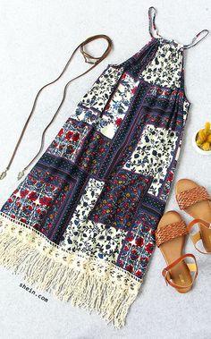 Multicolor-Sleeveless-Vintage-Print-Tassel-Dress-VINTAGE.