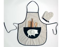 For the Pint-Size Chef: Outfit kitchen helpers in a striped butcher apron, which comes with a matching mitt and three wooden utensils.