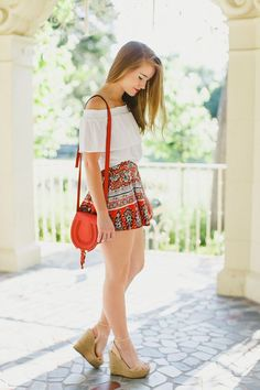 flowy printed summer shorts, red mini marcie chloe bag, schutz nude wedges