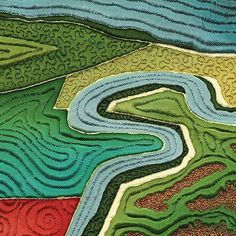 "Close up, ""Fields of Salt"" by Linda Gass.  Map quilt; aerial view over San Francisco Bay."