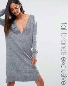 Noisy May Tall Oversized V Neck Jumper Dress