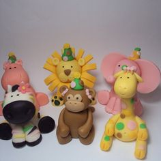 Zoo Party Animals Set of 6 Cupcake or Cake by SweetTouchDecor, $27.00