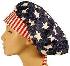 online store e3bb0 d36c1 Designer Bouffant Medical Scrub Cap - American Pride Review Surgical Tech, Surgical  Caps, Neck