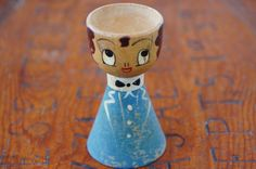 Vintage 40s-50s wooden Peg Doll Egg Cup retro by SycamoreVintage