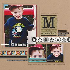 What are some good boy-themed scrapbooking page ideas?
