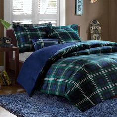 Anton Plaid Comforter Set - 3 Piece bedding Set in Green- Soft Comfortable and Luxurious Teen Boys Bedding. Fade and Stain Resistant comforter Set - Mens Bedding Set (Queen) Plaid Comforter, Blue Comforter Sets, Blue Bedding, Dorm Bedding, Bedroom Comforters, Nautical Bedding, Bed Rooms, Dorm Rooms, Mens Bedding Sets