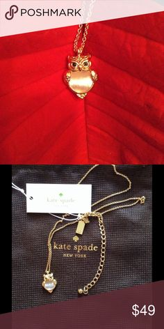 "Authentic Kate Spade Mini Owl Necklace NWT. Authentic Kate Spade Mini Owl Necklace Into the Woods collection. NWT 12kt, yellow gold plated with Mother of Pearl. 16"" length with 3"" extender. kate spade Jewelry Necklaces"
