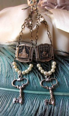 Parisian Keys - Vintage Assemblage Earrings by the French Circus