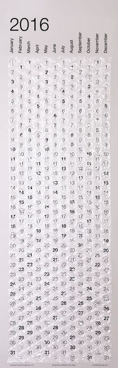Bubble Calendar, a poster-sized calendar with a bubble to pop every day