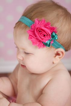 Items similar to Chiffon and sequin Headband Newborn Baby and Toddler girl hair bow shabby chic on Etsy Baby Girl Hair, Girl Hair Bows, Baby Girl Headbands, Newborn Headbands, Baby Bows, Shabby Flowers, Fabric Flowers, Shabby Chic Headbands, Diy Bow