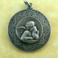 Antique Art Nouveau French Silver Angel Cherub Charm Fleur-de-Lis Decoration #Unbranded #ArtNouveau