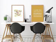 Hawaiian islands travel poster Hawaiian decor Hawaii art Love Hawaii Typography print Hawaii Hawaiian typography art print Hawaii art print by ArtMii Crochet Wall Art, Hawaiian Decor, Hawaiian Islands, Typography Prints, Travel Posters, Watercolor Art, Art Prints, Gift Ideas