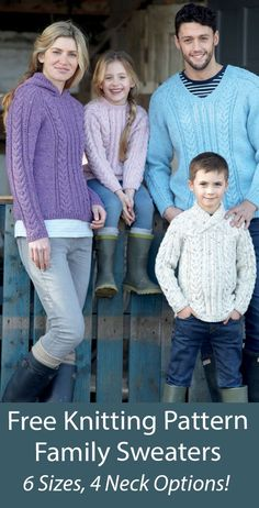 """Free Sweater Knitting Patterns Hayfield 7989 Cable pullovers in sizes for children and adults. 4 neck options including Round Neck, V Neck, Wrap Neck and Hooded. Sizes To Fit Bust/Chest: 24/26"""", 28/30"""", 32/34"""", 36/38"""", 40/42"""", 44/46"""". Designed by Sirdar. Aran weight yarn."""