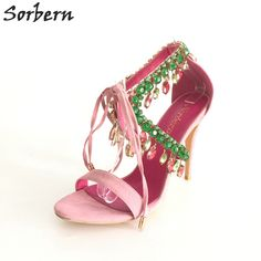 92e659dd70c863 Pink Rhinestones Slingback Women Sandals Crystal Straps Open Toe Sandals  For Party Shoes Plus Size US4