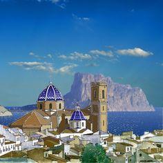 Vista de la Iglesia de Altea y su casco antiguo. Alicante, Altea, Moraira, Valencia, Taj Mahal, Country, Building, Photography, Travel