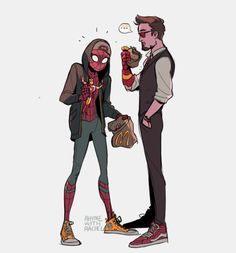 Tony Stark and Spidey - art by rhymes with rachel