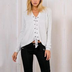 #White Lace Up Loose Sweater With V-Neck ____________________________________________ Zorket Provides Only Top Quality Products for Reasonable Prices + FREE SHIPPING Worldwide ____________________________________________