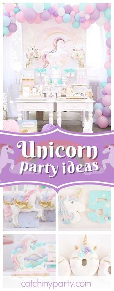 Don't miss this Magical Unicorn Birthday Party! The unicorn donuts look delicious!! See more party ideas and share yours at catchMyParty.com #unicorn #girlbirthday
