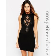 ASOS PETITE Sleeveless Mini Dress With High Neck And Lace Detail
