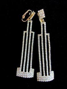 Art Deco Clear Rhinestone Earrings Signed ART DECO 89 Long