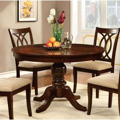 Round Table Top With Pedestal Dining Table Wood/Brown Cherry - Furniture of America, Redwood Brown Round Pedestal Dining Table, Dining Table Design, Dining Room Table, A Table, Dinner Table, Dining Rooms, Round Tables, Cherry Furniture, Table Furniture