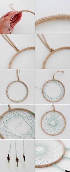 ▷ 1001 + great ideas on how to make a dream catcher - DIY dreamcatcher, beige leather cord, gray yarn, braid web, braiding technique - Making Dream Catchers, Dream Catcher Craft, Dream Catcher Boho, Dream Catcher Materials, Cordon En Cuir, Dream Catcher Nursery, Diy Tumblr, Bracelet Cuir, Dream Catchers