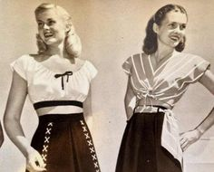 1940s Summer tops and short in blue and white nautical theme