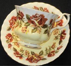 Autumn rose teacup