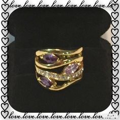 Multi-Layer Ring Gorgeous Multi-layer Ring Genuine 18K Gold Plated Austrian Crystals Jewelry Rings