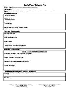Parent Teacher Conference Record Sheet  Teacher S Marketplace