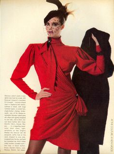 US Vogue October 1983 ~ One of my favorite Ungaro dresses ~ covered up, yet form-fitting draped silk ~ Dolly Fashion, 80s Fashion, Fashion History, Fashion Dresses, Fashion Looks, Vintage Fashion, Fashion Mag, Cheap Fashion, Street Fashion