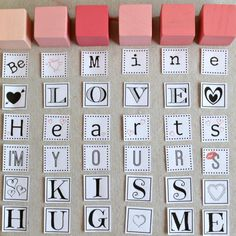 Valentine Words, Valentine Crafts For Kids, Valentines Diy, Word Block, Block Craft, Valentine's Day Diy, Easy Gifts, Arts And Crafts, Messages