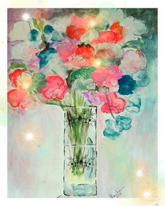 Sweet Peas Digital Print Floral Painting Sweet Peas In Case Cottage garden flowers Pretty Pink Red Blue Sweet Pea UK Etsy Shops UK Shopping. Sweet Peas, Pretty In Pink, Red And Blue, Digital Prints, Artisan, Shops, Cottage, Etsy Shop, Unique Jewelry