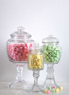 Candy Bar Gl Apothecary Jars Set Of 3 Shabby Chic Pedestals Country Wedding Reception Prairie Farmhouse Decor