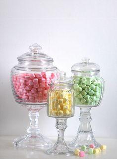 Candy Bar Gl Apothecary Jars Set Of 3 Shabby Chic Pedestals Country Wedding Reception Prairie Farmhouse Decor