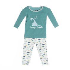 Kickee Pants Pajama Set, Boy Dino Print