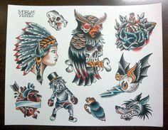 Traditional Tattoo Flash Sheet by DerekBWard on Etsy