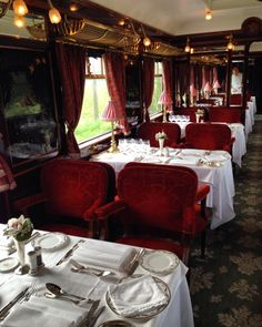 Luxury travel train style on L'Oriental Dining Car on Belmond Venice Simplon Orient Express